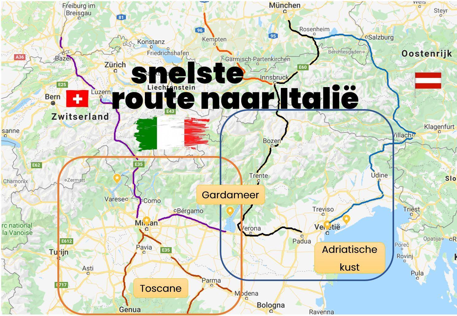 Gaat de beste route naar Italië door Zwitserland of Oostenrijk?