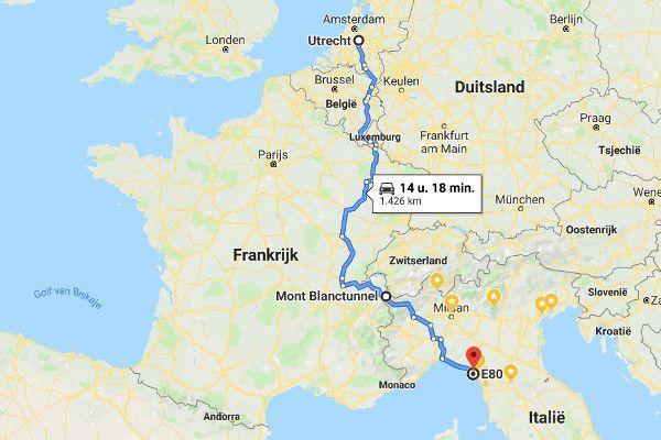 De route naar Italië door Frankrijk.