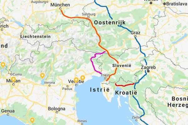 Snelste route naar Kroatië