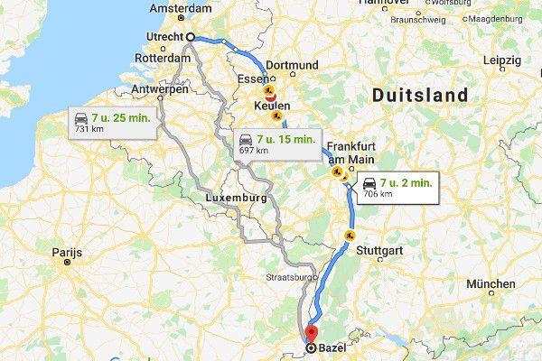Hotel onderweg naar Zwitserland - via Frankrijk of Duitsland