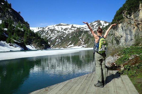 De beloning op de top: een prachtig uitzicht over de Tappenkarsee