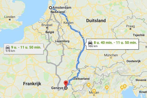 Route naar Frankrijk via Zwitserland